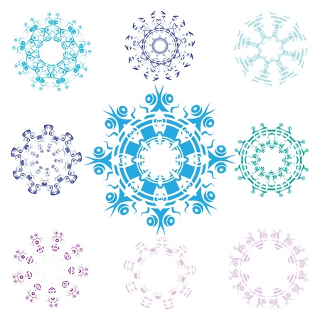 Collection of isolated snowflakes, Vector