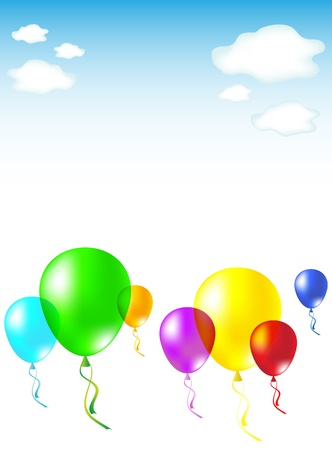 Balloons in the skies; there is a place for your text in the middle; vector illustration, eps10, two layers; Vector