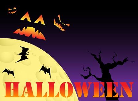 snoot: Halloween scene with text, vector illustration, eps10