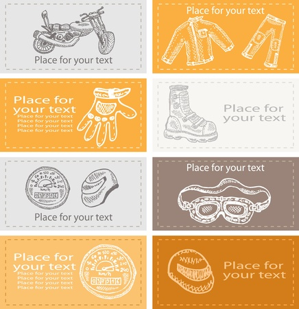 Set of business cards on biker theme , vector illustration, eps 10. There are 2 layers.  Vector