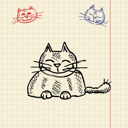funny cat: Sketch divertido gato, ilustraci�n vectorial, eps10