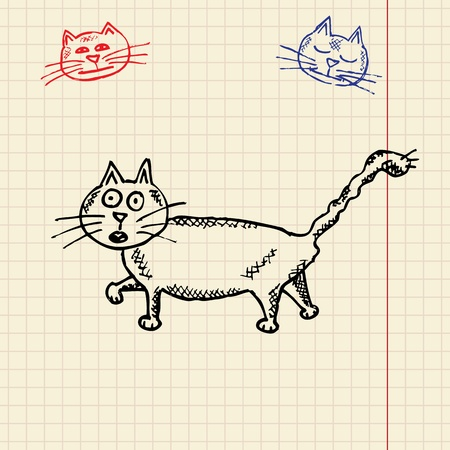 Sketch funny cat, vector illustration, eps10 Vector