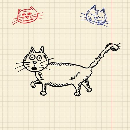 Sketch funny cat, vector illustration, eps10 Stock Vector - 11377798