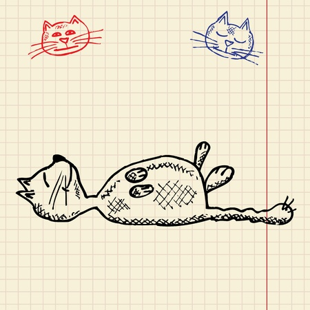 Sketch funny cat, vector illustration, eps10 Vector