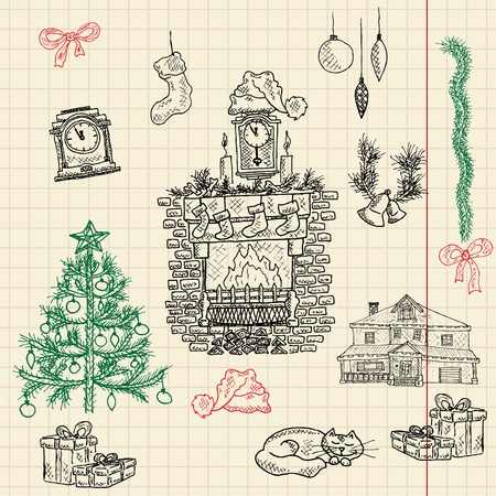 fireplace christmas: Christmas sketch set composed of christmas tree, fireplace, gift boxes, garland, clock, cat, bells, bows, pine branch, hat, sock and house=) Vector illustration, eps10! Merry christmas from Syberia!=) Illustration