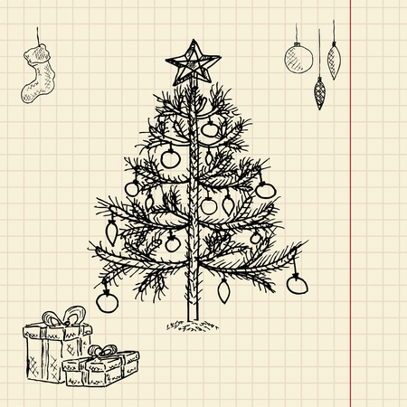 Christmas tree sketch, vector illustration, eps10 Vector