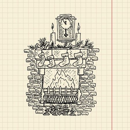 Christmas sketch of fireplace, vector illustration, eps10 Vector