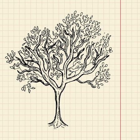 Bush sketch on school paper, vector illustration, eps 10