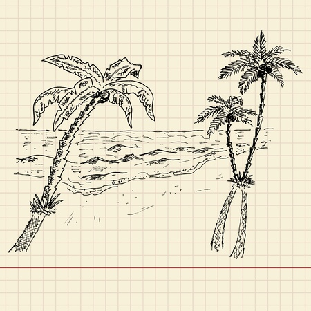 Sketch of seascape on school paper, vector illustration, eps10