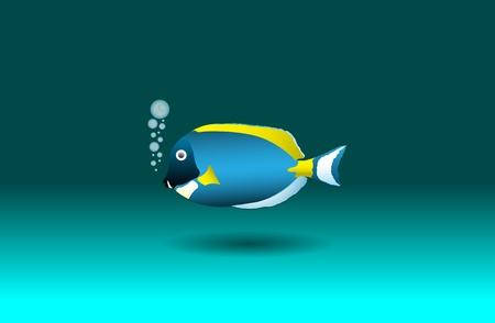 Cartoon blue tang, vector illustration, eps10 Vector