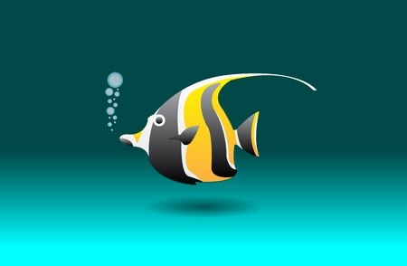 moorish idol: Cartoon moorish idol, vector illustration, eps10