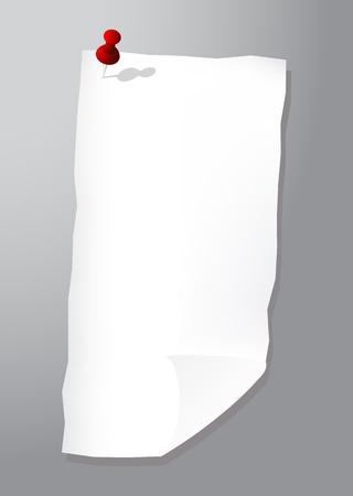 připínáček: List papíru s připínáček, vektorové ilustrace, eps10 Ilustrace