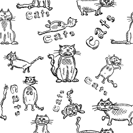 Seamless background of funny hand-drawn cats. Vector