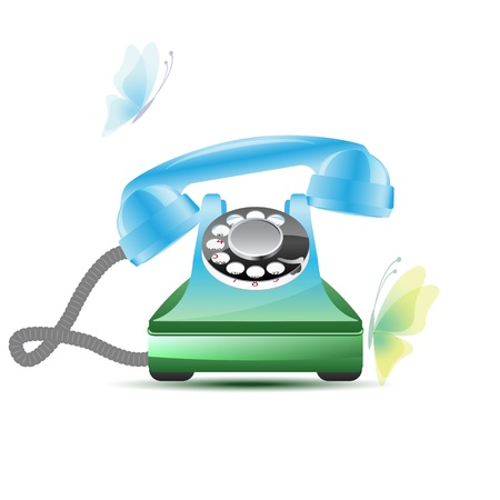 Ringing retro phone with butterflies, vector illustration, 2 layers