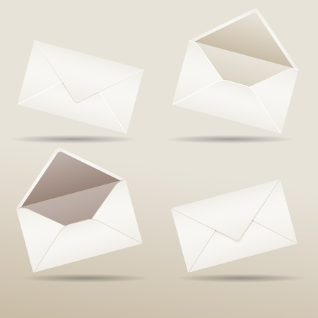 Set of realistic envelopes with shadow, vector illustration, eps10, 3 layers