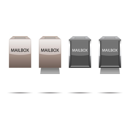messege: Glossy metal mailboxes with multiply shadows.