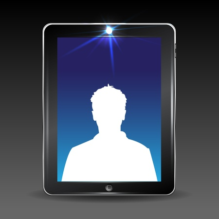 Video conversation by cell or tablet computer.