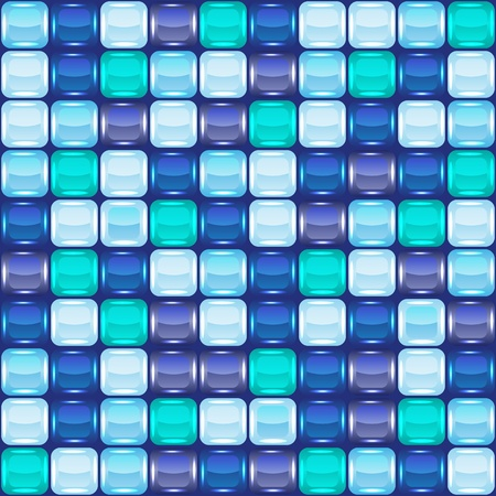 Blue mosaic seamless background. Vector