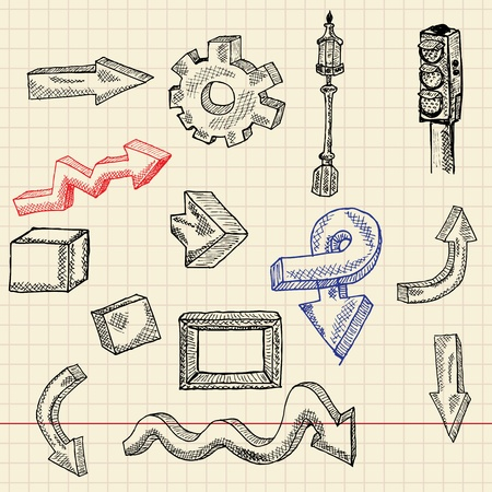 Abstract sketch set illustration Vector