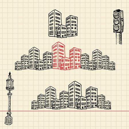 Cityscape, sketch set, vector illustration, eps10 Zdjęcie Seryjne - 12237078