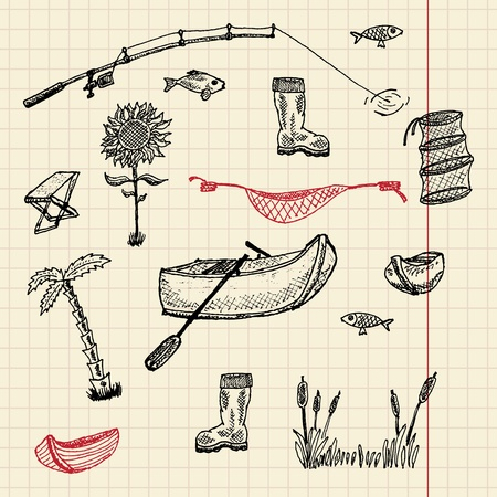Sketch fishing set, vector illustration, eps10 Vector