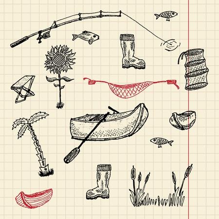 Sketch fishing set, vector illustration, eps10 Vector