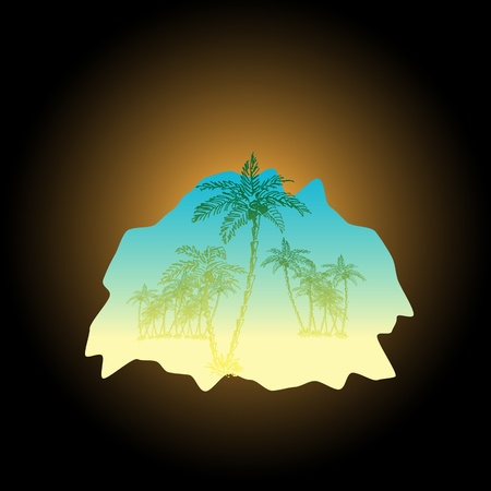 subtropical: Sketch of palms from the cave illustration