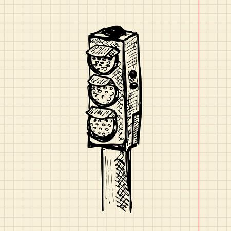 Sketch traffic lights, vector illustration, eps10 Vector
