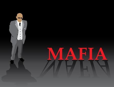 gang member: Gangster silhouette on dark background. Illustration
