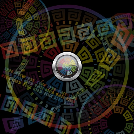 Abstract button and motley background. Vector