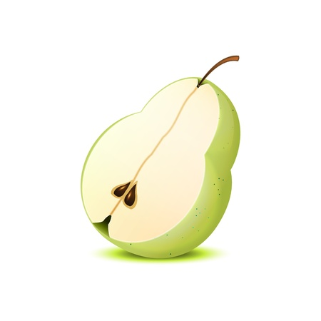 fruited: Isolated realistic half of the pear on white.