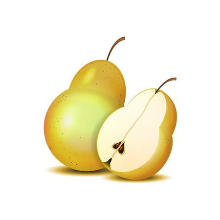 fruited: Isolated realistic sliced pears on white.