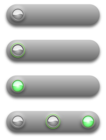 Long button, off, selected and pushed. Stock Vector - 12391671