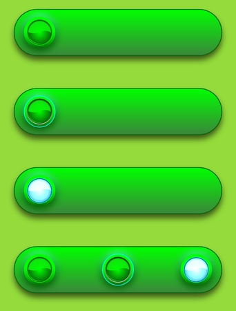 Long button, off, selected and pushed. Vector