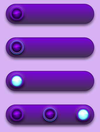 Long button, off, selected and pushed. Stock Vector - 12391700