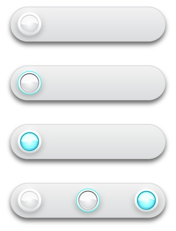 Long button, off, selected and pushed. Stock Vector - 12391680
