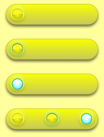 Long button, off, selected and pushed. Stock Vector - 12391679