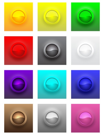 Colorful convex glossy buttons set. Stock Vector - 12391713