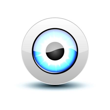researching: Icono del ojo azul con sombra en blanco.