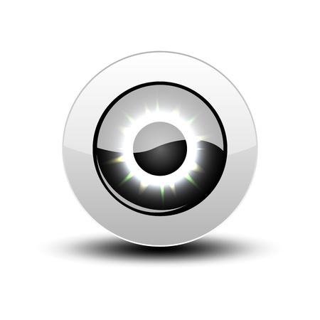 globo ocular: Icono del ojo negro con sombra en blanco.
