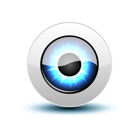 globo ocular: Icono del ojo azul con sombra en blanco.