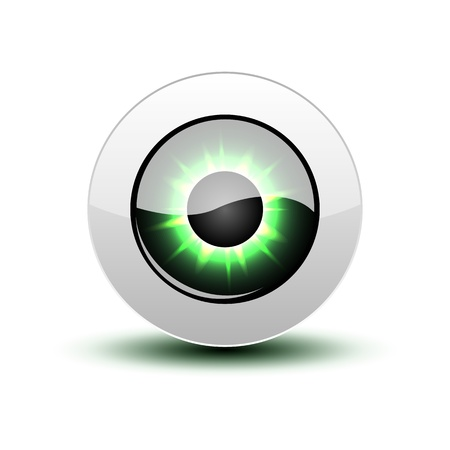 shadow people: Green eye icon with shadow on white.