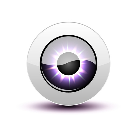 Purple eye icon with shadow on white. Vector