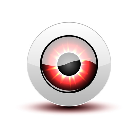 Red eye icon with shadow on white.
