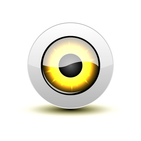 Yellow eye icon with shadow on white. Stock Vector - 12391704