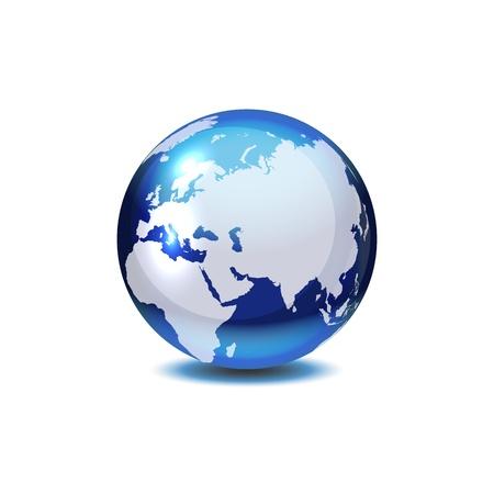 Dark blue globe with shadow on white.