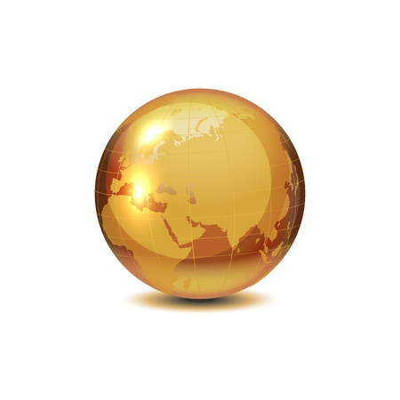 internet logo: Golden globe with shadow on white, vector illustration.