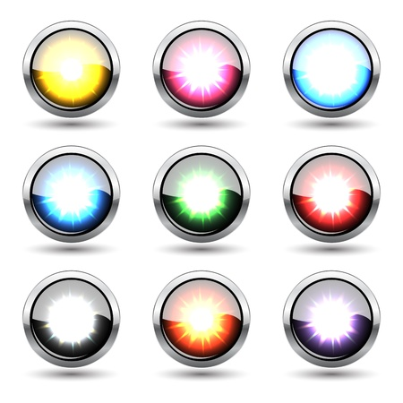 reflection internet: Colorful metal buttons isolated on white