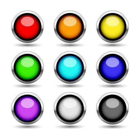 Colorful metal buttons set isolated on white illustration Stock Vector - 12494309