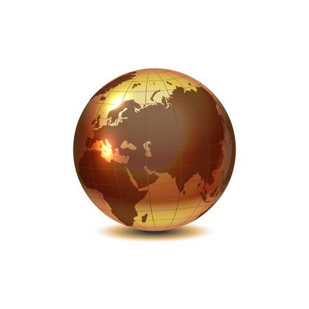 logo terre: Golden Globe avec l'ombre sur fond blanc Illustration